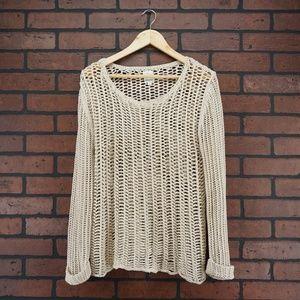 ELLA MOSS 100% Cotton Crochet Open Knit Sweater M